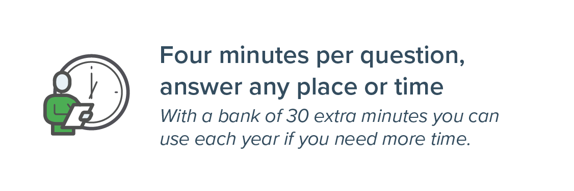 Four minutes per questions, answer any place or time with a pool of extra minutes if you need more time