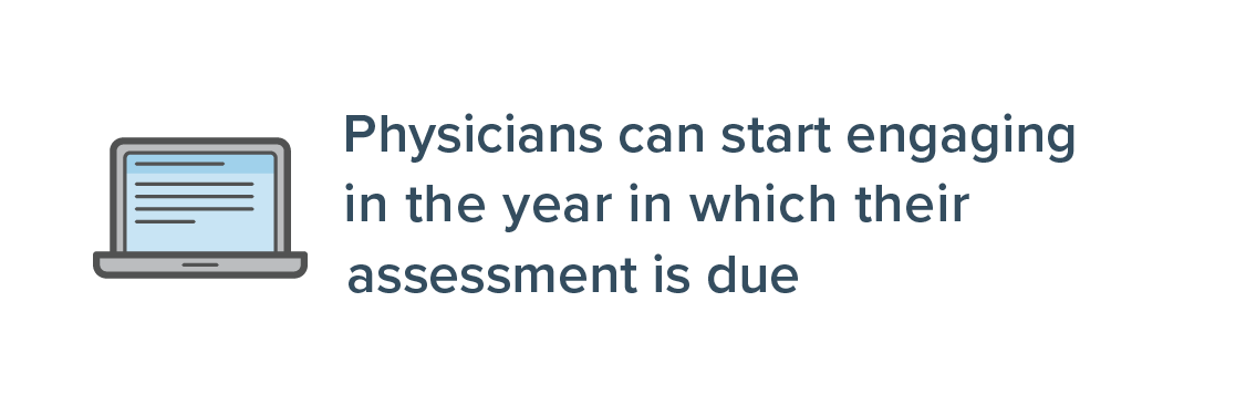Physicians can start engaging at any time, up until and including assessment due year